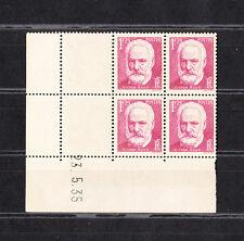 timbre France bloc de 4 coin daté  Victor Hugo de 1935   num: 304  **