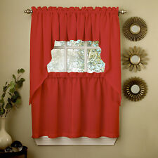 Red Opaque Solid Ribcord Kitchen Curtains Choice of Tier Valance or Swag