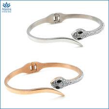 Bracciale da donna braccialetto serpente rigido manetta con zirconi in acciaio