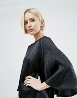 Ganni Black Silk Satin Jacquard Printed Flared Sleeve Blouse - Size S RRP £170