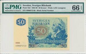 Sveriges Riksbank Sweden  50 Kronor 1984 Black Serial Number  PMG  66EPQ