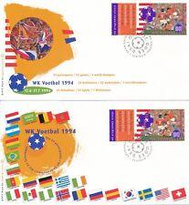 2 FDC's Nederland - WK Voetbal 1994 - Blanco / Open klep