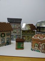 Vintage 4 Figi's, 1 Avon, And 1 Small Christmas Village Tins