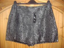 Womens black and silver leopard print shorts in size 12 new