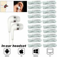 Bulk Wholesale White 3.5MM Headphones Earbuds Earphones For Samsung iPhone PC