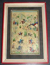 Antique Persian Handmade Miniature Painting Islamic Artwork Battle War Scene