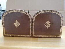 PERMO LEATHER BOUND WOODEN BOOK END SET