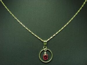 14kt 585 Yellow Gold Chain & Pendant With Brilliant & 0,56ct Spinel Trim / 45 CM