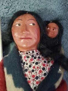 "1920s VINTAGE SKOOKUM 13"" TALL DOLL INDIAN NATIVE AMERICAN"
