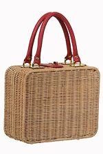 rétro donna anni '40 ANNI 50 stile rattan vimini borsa sacchetto scatola