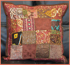 Hand Crafted vintage Tribal Patch Work brown Pillow Cover Cushion Cover India!!