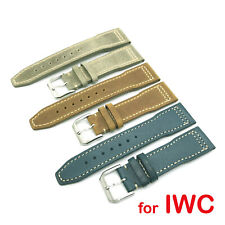 21mm 20mm Light Blue Gray Brown Light Leather Strap for IWC Pilot Top Gun Watch
