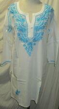 Elegance chikan embroidery long   coton  kurta/top size 44