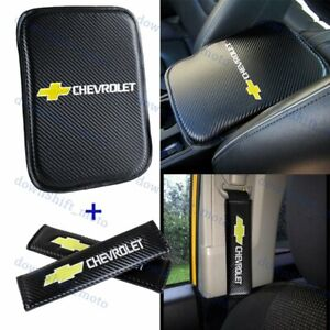 For White Embroidery CHEVY Car Center Armrest Cushion Mat Pad w/ Seat Belt Cover