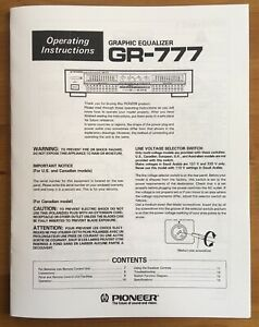 Pioneer GR-777 Graphic Equalizer Owner's Manual Operating Instructions