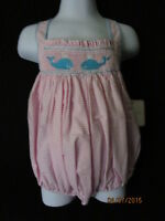 NWT PINK & WHITE BUBBLE SUNSUIT WITH SMOCKED WHALE CRISS CROSS STRAPS BOUTIQUE
