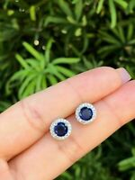1.25Ct Round Cut Blue Sapphire 14K White Gold Finish Women's Halo Stud Earrings