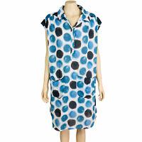 YARRA TRAIL Women's Sz 14 White Blue Sleeveless Collared Button Up Shift Dress