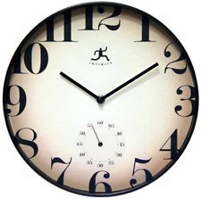 """Infinity Instruments 14459Bk-3514 Traditional Fade Away Wall Clock, 12"""" Round"""