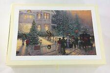 Thomas Kinkade Glitter Christmas Card Set in Box 18 Cards 19 Envelopes 1991