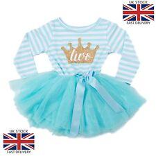 Baby Mädchen 2nd Second Birthday Girl Partykleid Tutu - Blau Gestreift Cake