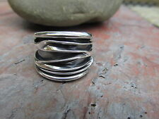 Sterling Silver Art Design Ridges Wide Cigar Band Ring NEW Size 7 Artistic Bold