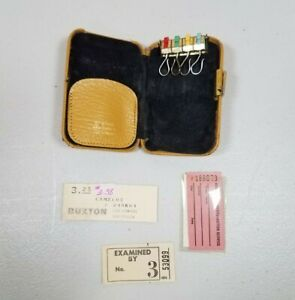Vintage Buxton Key-Tainer Gold Leather Hard Sided Key Case, Lido Cowhide