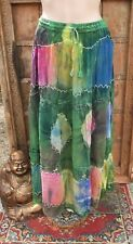L@@K!FREESIZE- SZ10/12/14+ CHIFFON TIEDYE EMBROIDERED BOHO HIPPY GYPSY SKIRT-V39