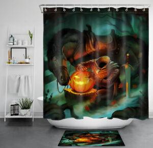 Halloween Night Headless Horseman Pumpkin Waterproof Fabric Shower Curtain Set