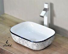 Bathroom vessel sink above counter ceramic porcelain wash basin Blue Floral art