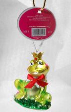 Smiling Prince Frog w Crown Kiss on Cheek Glass Christmas Ornament Nwt