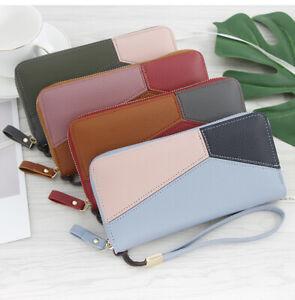 Women wallet purse long envelope bag stitching candy color girls mobile phone ba