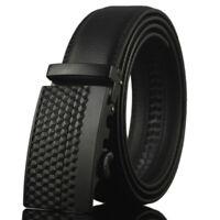 Fashion Men's Leather Belt Automatic Buckle Belt Ratchet Strap Elegant Waistband