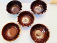 "Set of 5 Vintage Mar-Crest Daisy Dot Brown 5 1/2"" Bowls Oven Proof Stoneware USA"