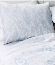 SIMPLY SHABBY CHIC GRAY / BLUE / WHITE PAIR OF KING PILLOW SHAMS