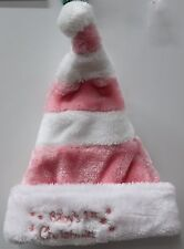 BABY GIRLS FIRST CHRISTMAS HAT Pink Santa's Cap Winter Holiday Infant Stripe NEW