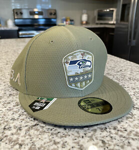 Seattle Seahawks NFL Salute to Service USA Camo New Era Fitted Cap Size 7 1/4