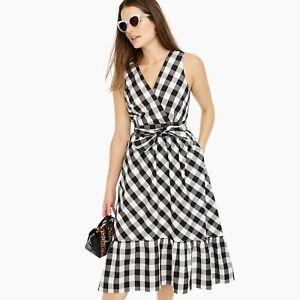 J.Crew Sleeveless Faux-Wrap Dress in Gingham Cotton Poplin Size 6 Black/White