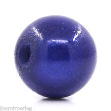 100 Perles Magiques ABS Plastique Bleu Foncé 8mm Dia. B25938