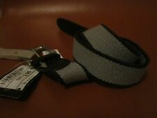 Childrens canvas look stretchy belt, with faux leather buckle/trim