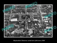 OLD POSTCARD SIZE PHOTO MURFREESBORO TENNESSEE AERIAL VIEW OF THE TOWN c1940