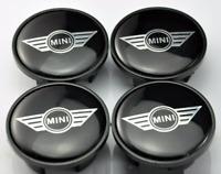 Schwarz Mini Cooper Embleme 4 x 54mm Alufelge Nabenkappen Nabendeckel Satz