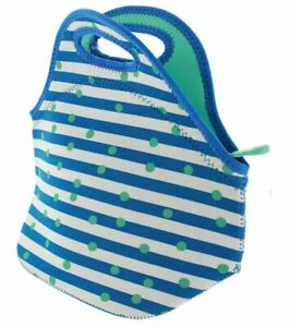 Built NY Gourmet Getaway Reusable Insulated Neoprene Lunch Tote, Stripe Dot Mint