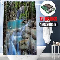 "78 x 70"" 3D Waterfalls Nature Bathroom Shower Curtain Scenery Fabric W/ 12 Hooks"