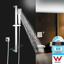 Square Sliding Rail Hand Held Shower Head Wall Mount Adjustable Bracket Chrome
