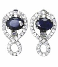 Leverback Sapphire Sterling Silver Natural Fine Earrings