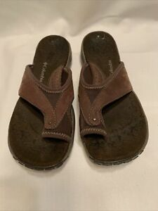 Columbia  Dark Brown/Black Leather Toe Loop Sandals Thong Sandals Women's 6 EUC