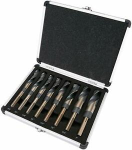 "8PC HSS Cobalt Silver & Deming Drill Bits Set- Large Size 9/16"" to 1"" Reduced 1"