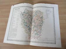 GRANDE CARTE COULEURS 1860  SEINE ET OISE VERSAILLES PAR DUFOUR COULEURS