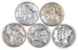 Lot (5) AU/Unc 1945 1944 1943-D 1945-S 1941 Mercury Silver Dimes Collection *118